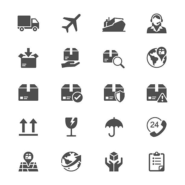 Logistik und Versand flache Symbole – Vektorgrafik