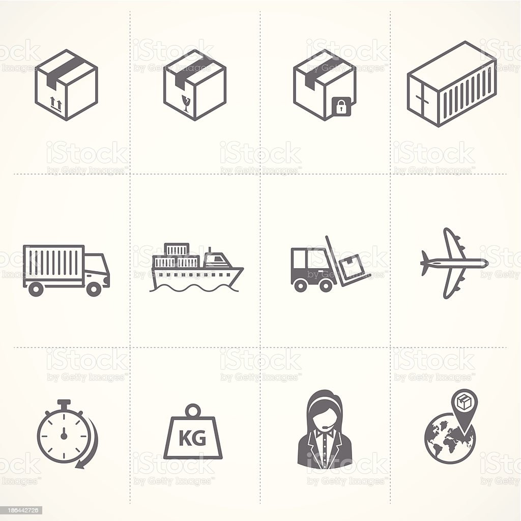 Logistics and Shipping icons - Illustration vector art illustration