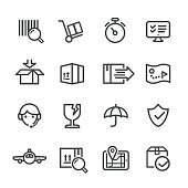 Logistics and Shipping Icons Set - Line Series