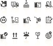 Vector icons with an logistics and shipping theme. Simple series. One icon consists of a single object + reflection (on a separate layer). EPS8, JPEG + AI CS3