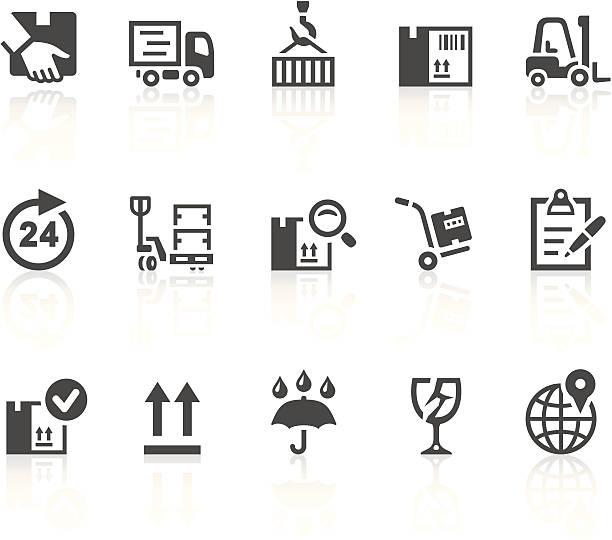 logistyka i wysyłki ikony - wózek transportowy stock illustrations
