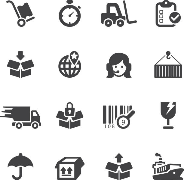 Logistics and shipping Silhouette icons vector art illustration