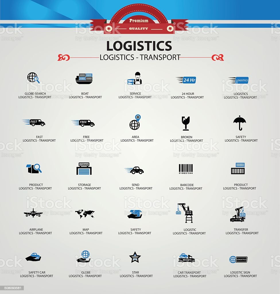 Logistics and transport icons,Blue version,vector vector art illustration