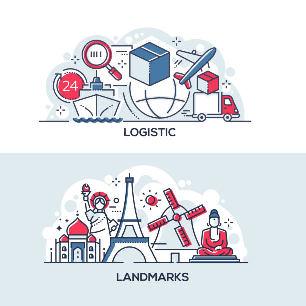 Logistics and world famous landmarks banner template vector art illustration
