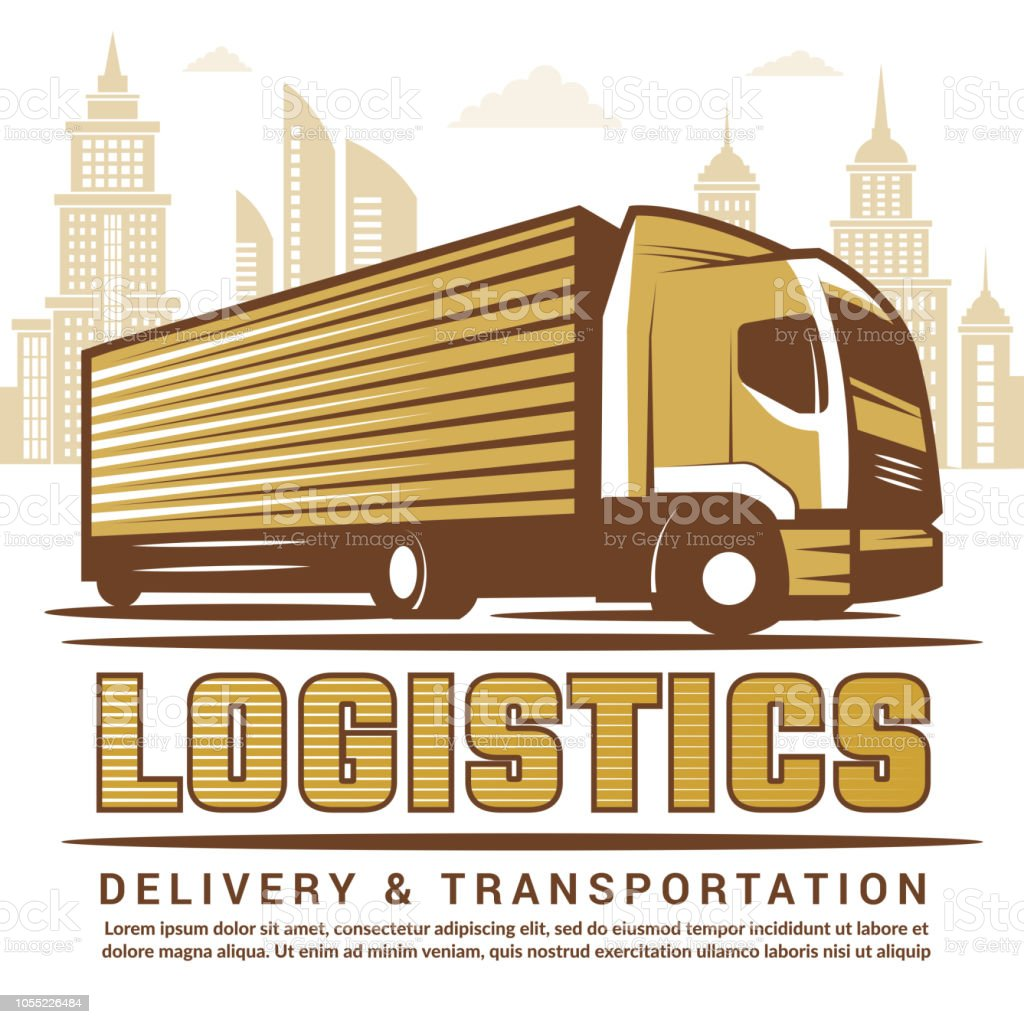 Logistics Background Vector Stylized Illustration Of Truck And