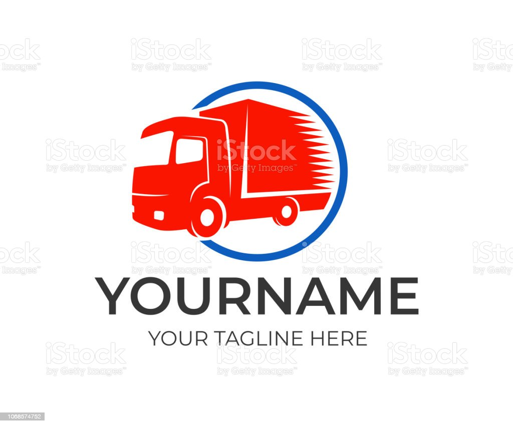 Logistics Company And Fast Truck In Circle Logo Design Cargo