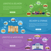 Logistics delivery and storage Horizontal Banners with Flat Icons delivery, warehouse and storage. vector illustration