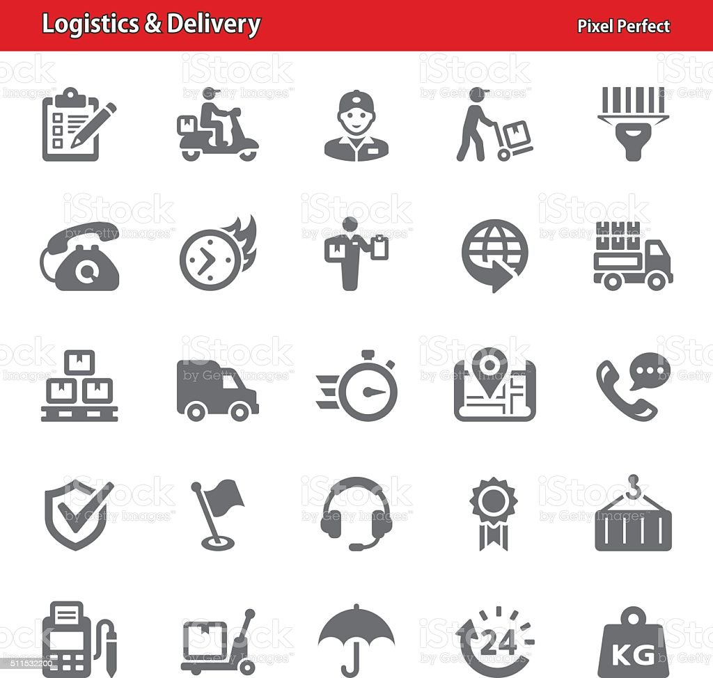Logistics & Delivery Icons vector art illustration