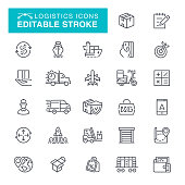Delivery and Logistics Editable Stroke Icon Set