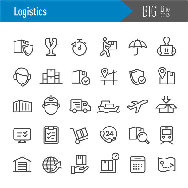 illustrazioni stock, clip art, cartoni animati e icone di tendenza di logistics icons - big line series - logistica