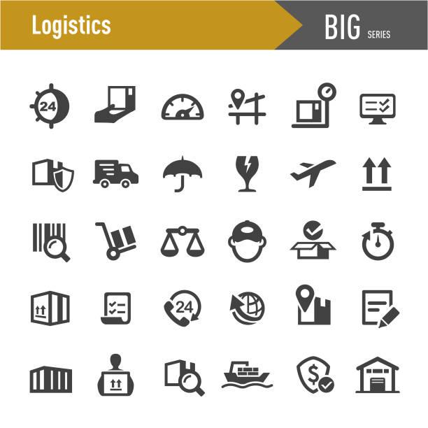 stockillustraties, clipart, cartoons en iconen met logistieke iconen-grote series - scheepvaart