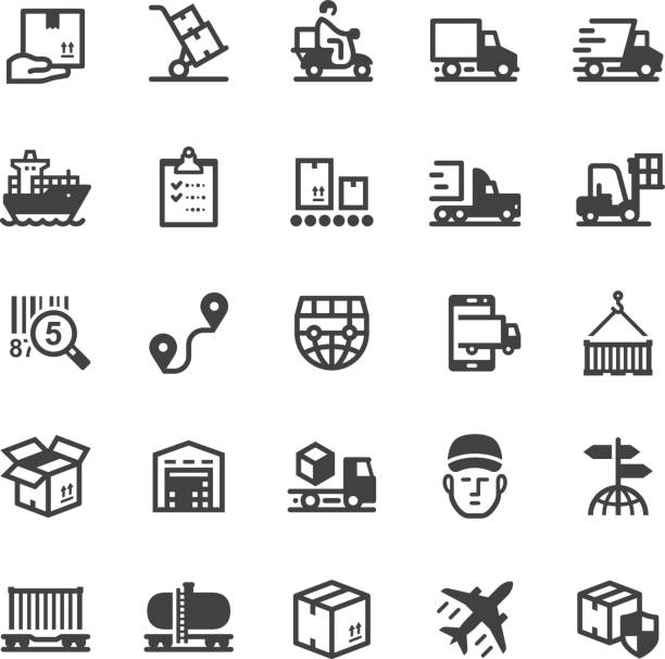 Logistics icons - Black series vector art illustration