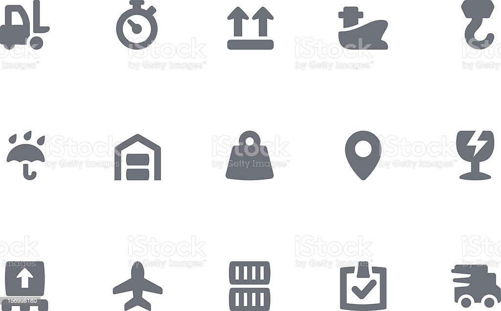 Logistics icons in grey and white royalty-free stock vector art