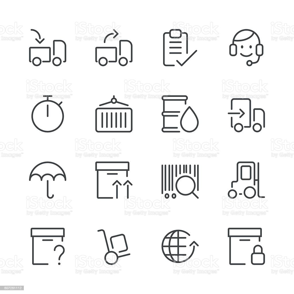 Logistics Icons set 1 | Black Line series vector art illustration