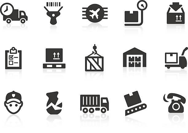 logistik-symbole - frachtpaletten stock-grafiken, -clipart, -cartoons und -symbole