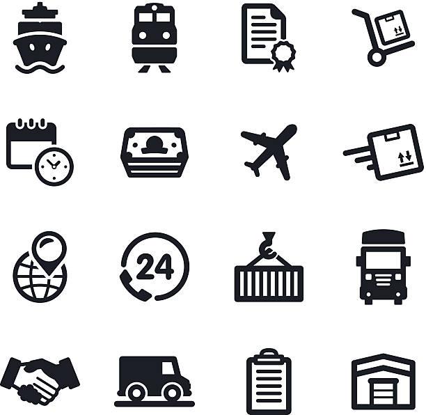 stockillustraties, clipart, cartoons en iconen met logistics icons - airport pickup