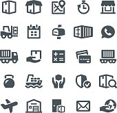 Logistics, delivery service, icons, freight transportation, warehouse