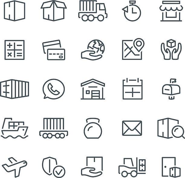 stockillustraties, clipart, cartoons en iconen met logistics icons - vrachtcontainer