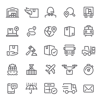 Logistics, shipping, icons, freight transportation, distribution warehouse