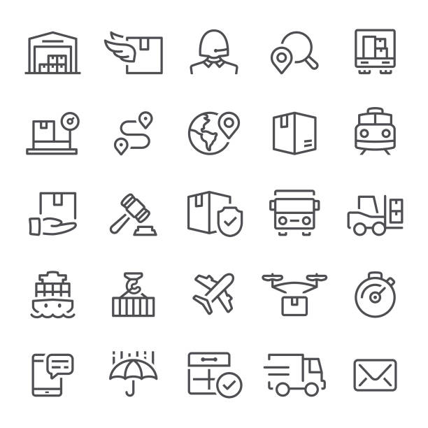Logistics Icons Logistics, shipping, icons, freight transportation, distribution warehouse cardboard box stock illustrations