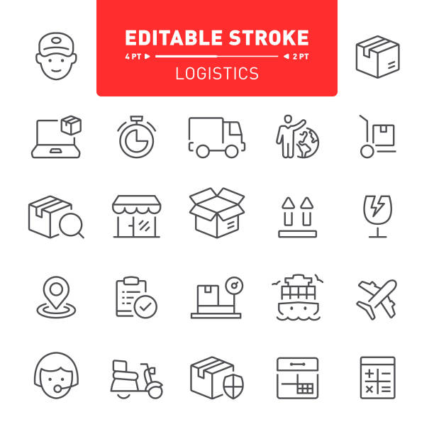 Logistics Icons Logistics, delivering, outline, editable stroke, icon, icon set,  freight transportation cardboard box stock illustrations