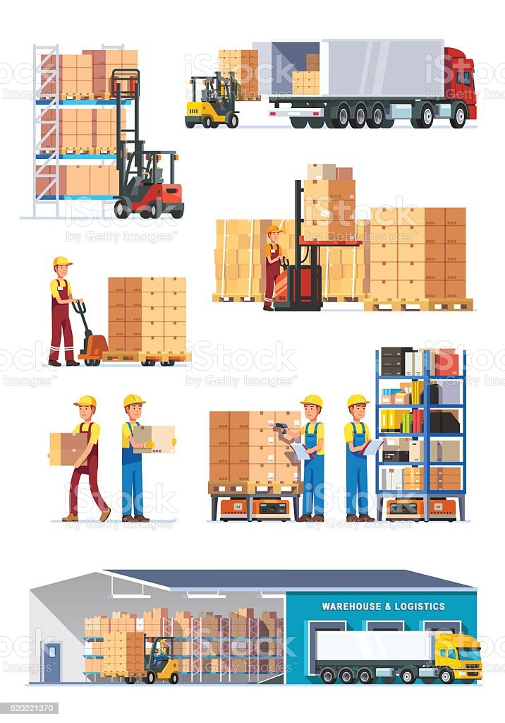 Logistics illustrations collection vector art illustration