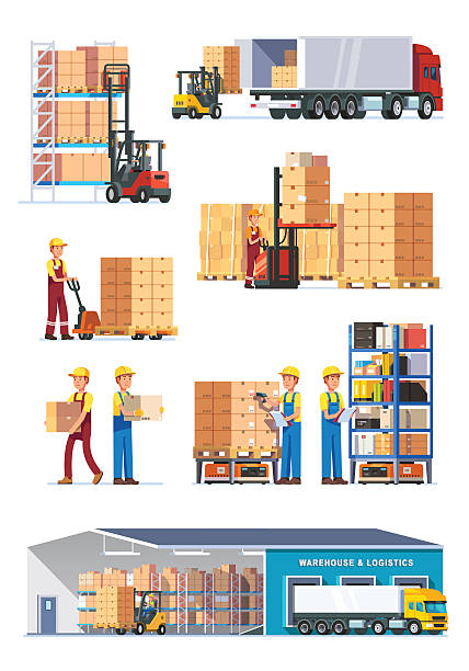 stockillustraties, clipart, cartoons en iconen met logistics illustrations collection - chauffeur beroep