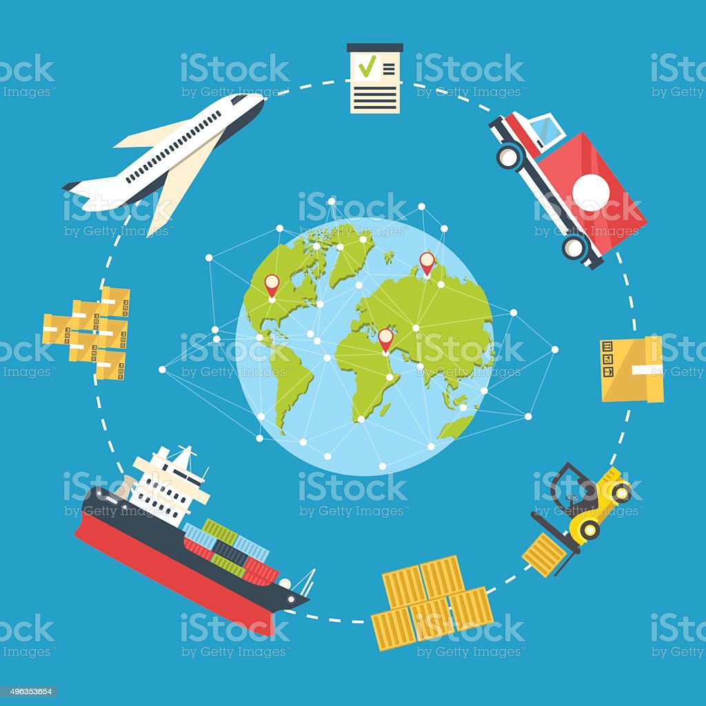 Logistics infographics concept vector illustration vector art illustration