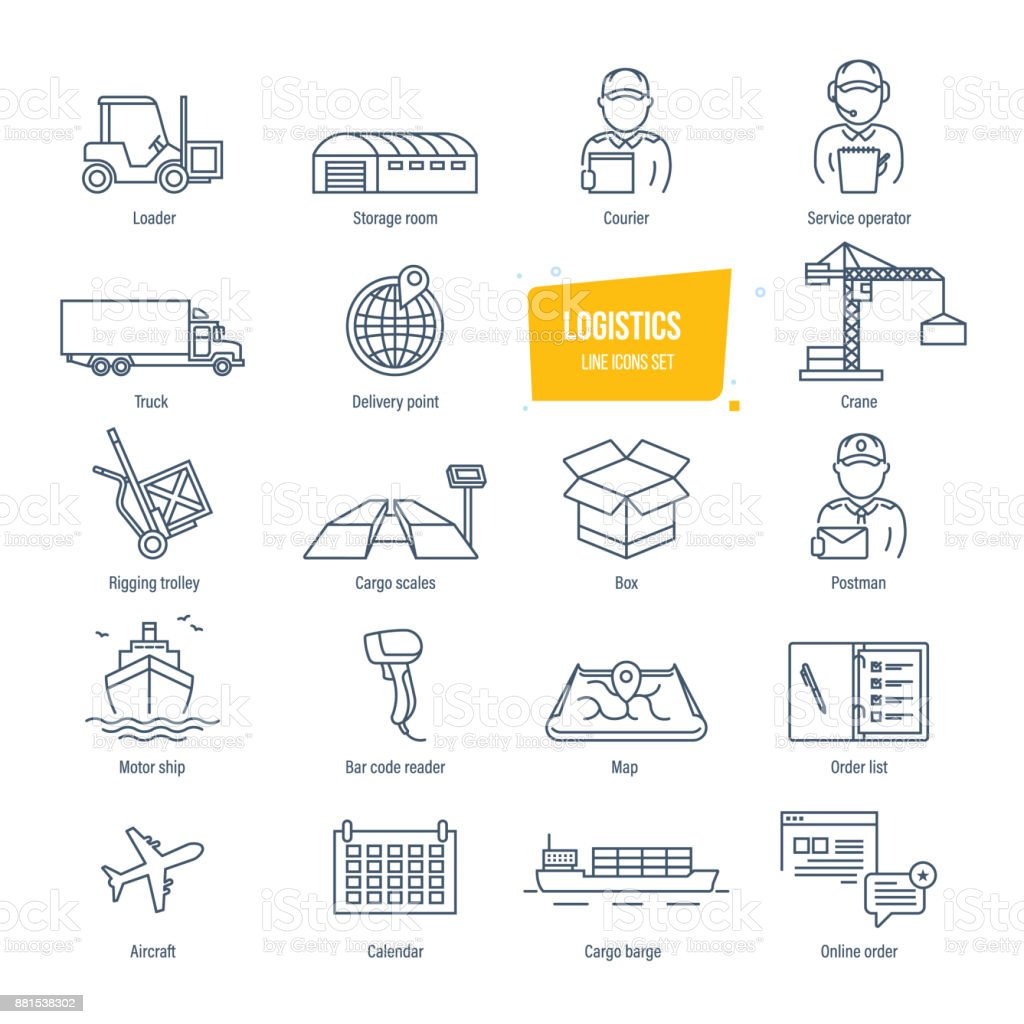 Logistics line icons set. Delivery, logistics. Packing, shipping, transportation, tracking