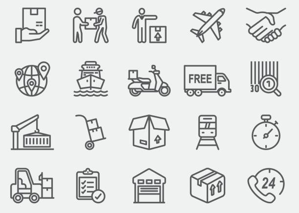 logistics line icons - boxes stock illustrations, clip art, cartoons, & icons