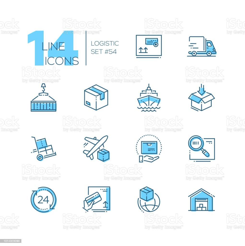 Logistique - icônes du design moderne fine ligne définie - Illustration vectorielle