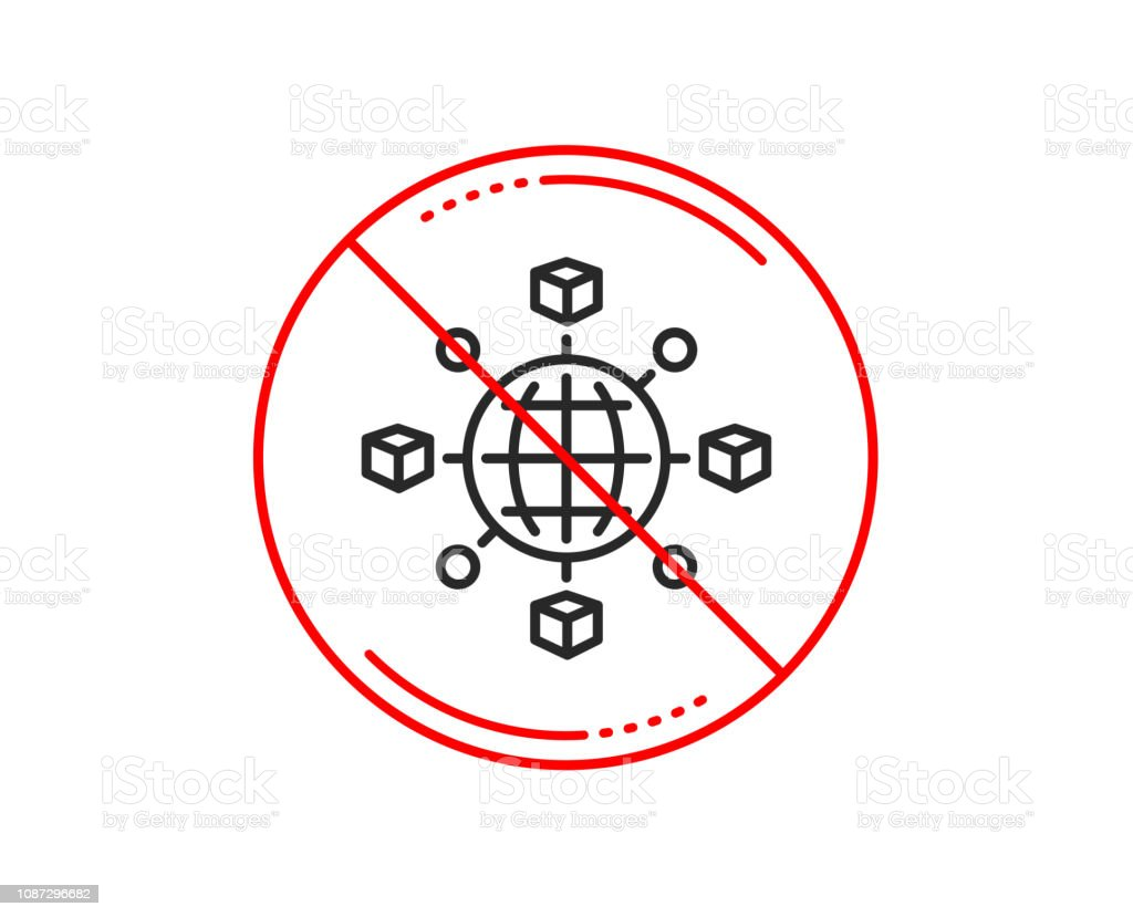 Logistics Network Line Icon Parcel Tracking Vector Stock