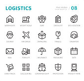 Logistics - 20 Outline Style - Single line icons with captions / Set #08 Designed in 48x48pх square, outline stroke 2px.  First row of outline icons contains: Warehouse, Weight Scale, Care, Checklist, Geo Location;  Second row contains: Courier, Air Cargo, Unpacking, Fragile, Operator;  Third row contains: Mail, Forklift, Insurance, Packaging, Date;  Fourth row contains: Hand Truck, Calculating, Container Ship, Protection, Freight Train.  Complete Signico collection - https://www.istockphoto.com/collaboration/boards/VT_7sDWo80OLh7foVxchBQ