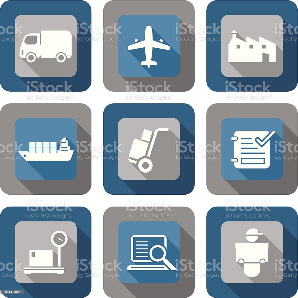 Logistics Shipping Icon Design set vector art illustration