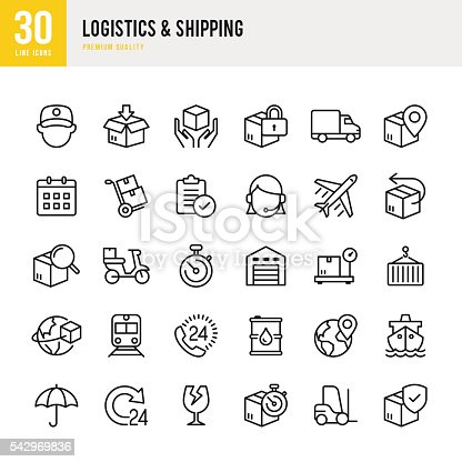 Logistics and Shipping set of 30 thin line vector icons.
