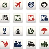 Set of 16 professional logistics and shipping icons for web applications, web presentation and more. File includes: vector EPS, PNG, JPG.