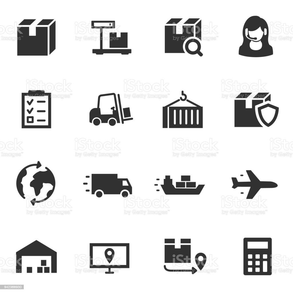 Logistics, simple icon set. transportation and delivery of goods vector art illustration