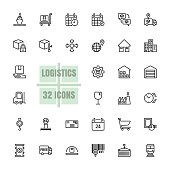 Logistics Supply chain vector illustration thin line 48x48 Pixel Perfect 32 icon set for business, customer, transport, logistics, distribution, finance, information, shipment, parcel. Editable Stroke