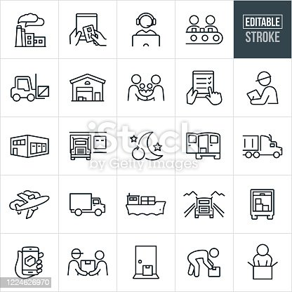 A set of logistics icons that include editable strokes or outlines using the EPS vector file. The icons include a factory, supply chain, online purchase from tablet pc, customer support representative, assembly line, forklift, warehouse, two decision makers making a deal with a handshake, quality control, fulfillment, inspector, semi-truck, shipping, delivery, delivery van, delivery truck, airplane, freight, package, package tracking, delivery man, customer, door step delivery, unboxing and other related icons.