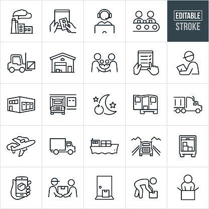 Logistics Thin Line Icons - Editable Stroke