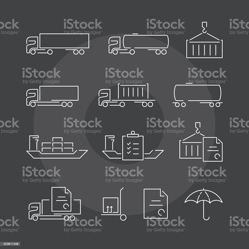 Logistics thin line icons set on dark background vector art illustration