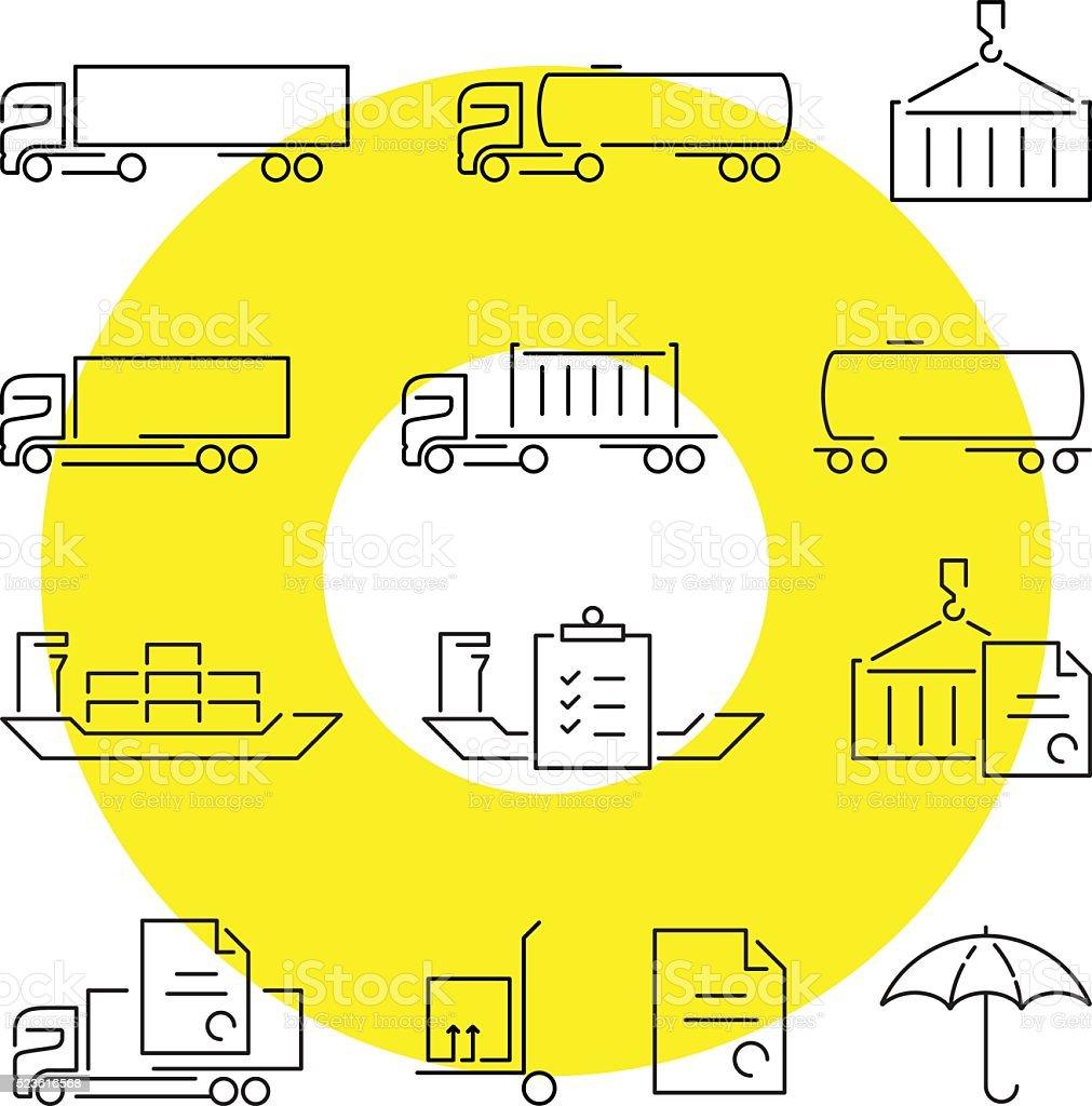Logistics thin line icons set vector art illustration