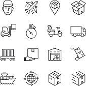 Logistics Thin Line icons