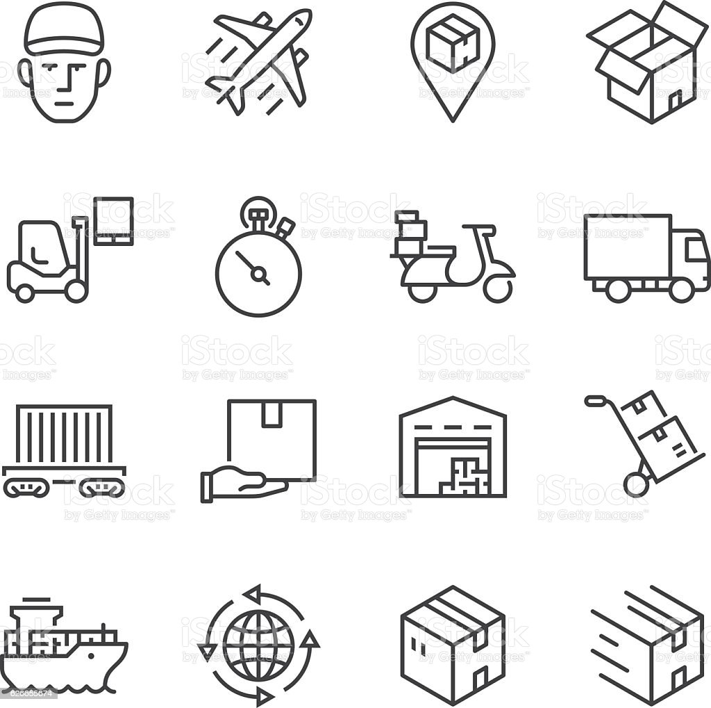 Logistics Thin Line icons vektorkonstillustration