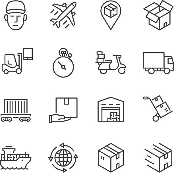 Logistics Thin Line icons vector art illustration
