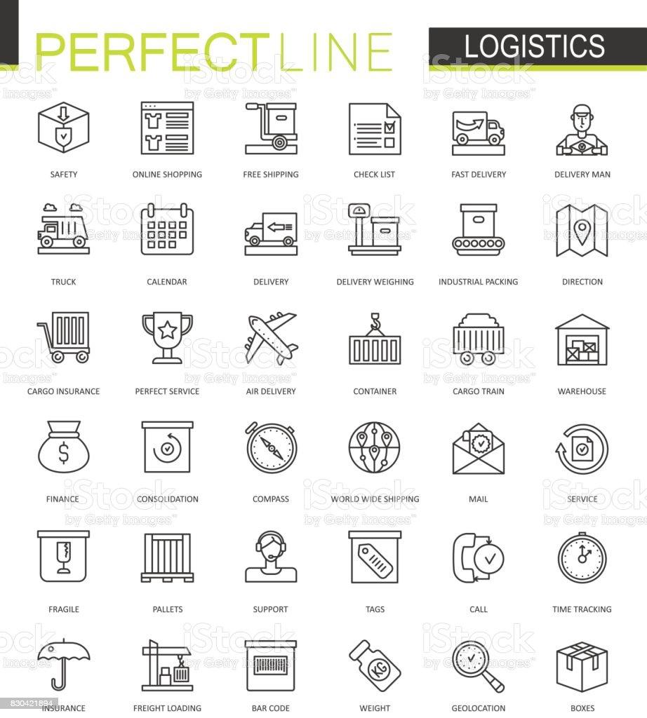 Logistique fine ligne web icônes définies. Icônes de course transport contour design. - Illustration vectorielle