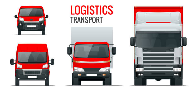 Logistics transport. Front view truck trailer, Semi truck, cargo delivery, van and minivan. Blank Freight delivery trucks. Isolated cargo vehicle set on white. vector art illustration