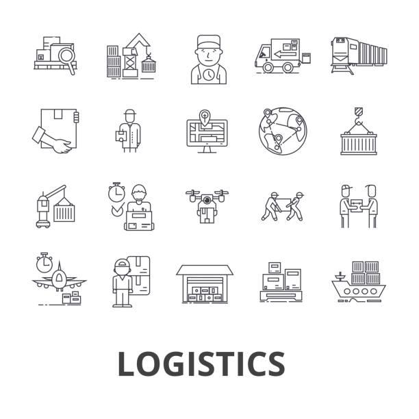 Logistique, transport, entrepôt, chaîne d'approvisionnement, camion, distribution, navire ligne icônes. Strokes modifiables. Concept de design plat vector illustration symbole. Linéaires signes isolés - Illustration vectorielle