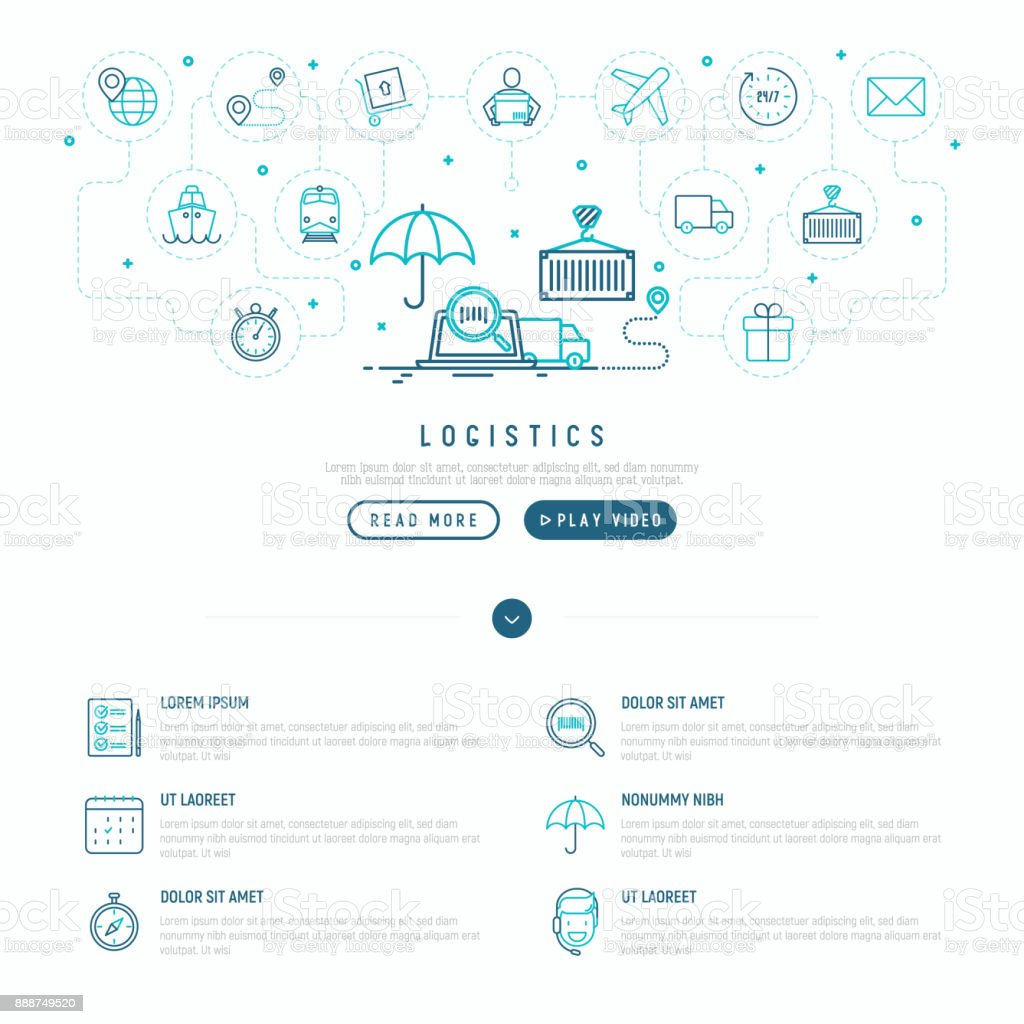 Logistics Web Page Template With Thin Line Icons Of Delivery Box