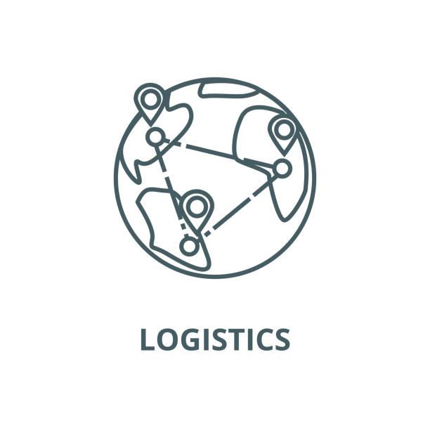 lojistik, dünya çapında teslim vektör hattı simgesi, doğrusal kavram, anahat işareti, sembol - sale stock illustrations